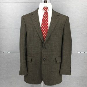 Jos A Bank Men's Brown Windowpane Blazer Sz 43R
